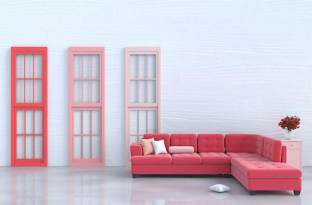 Décor de salon blanc avec canapé rouge, fenêtre rouge et rose, rose rouge, saint valentin. 3d
