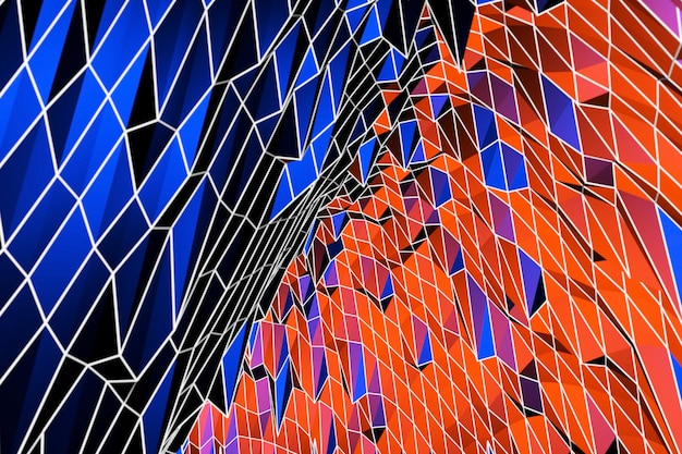 Décoration colorée de fond abstrait 3d, motif bleu et rouge, illustration 3d. modèle de couverture, formes géométriques, bannière minimale moderne.
