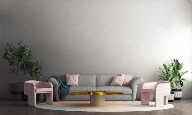 Décoration confortable moderne maquette design d'intérieur de salon et de fond de mur en béton, rendu 3d