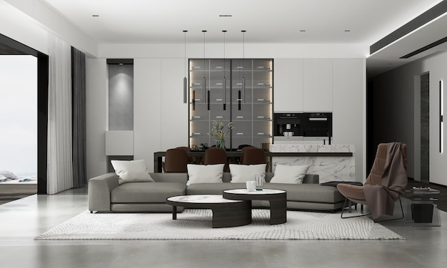 La décoration et le design d'intérieur de la maquette confortable du salon et le rendu 3d de fond de motif de mur vide
