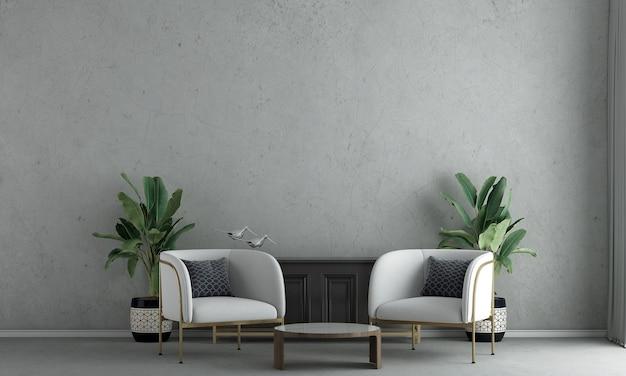 La décoration de design d'intérieur et les meubles de maquette du salon confortable et le rendu 3d de fond de texture de mur de béton vide