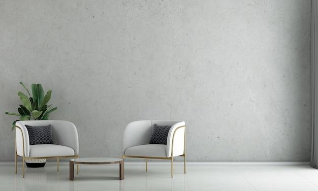 La décoration de design d'intérieur et les meubles de maquette du salon loft et le rendu 3d de fond de texture de mur de béton vide