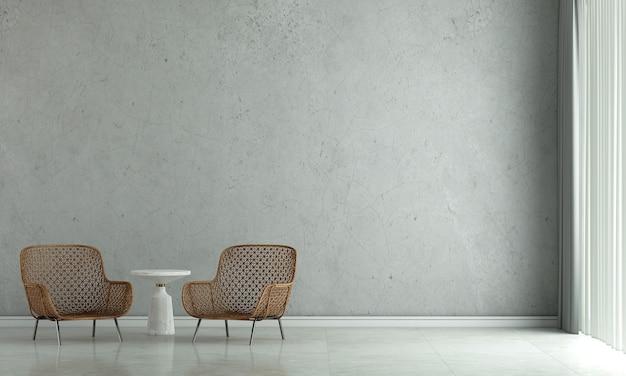 La décoration de design d'intérieur et les meubles de maquette du salon loft et le rendu 3d de la texture du mur de béton vide