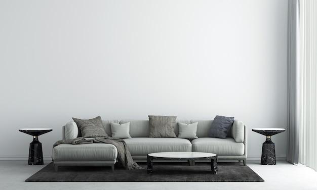La décoration de design d'intérieur et les meubles de maquette du salon et le rendu 3d de fond de texture de mur de béton vide