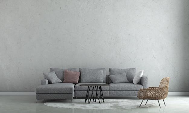 La décoration de design d'intérieur et les meubles de maquette du salon et le rendu 3d de fond de texture de mur en béton