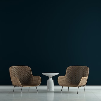 La décoration de design d'intérieur et les meubles de maquette du salon et le rendu 3d de fond de texture de mur noir vide