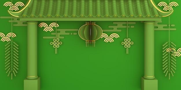 Décoration du nouvel an chinois avec pétard de lanterne de porte chinoise