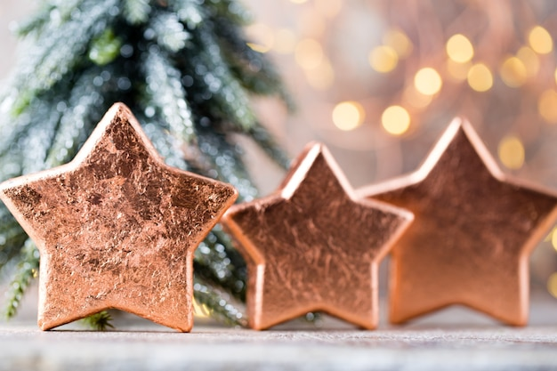 Décoration étoile de noël en bronze