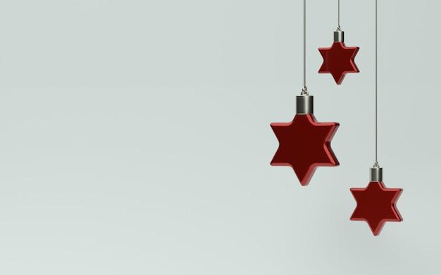 Décoration étoile rouge de noël 3d avec fond blanc pour bannière ou promo. illustration 3d