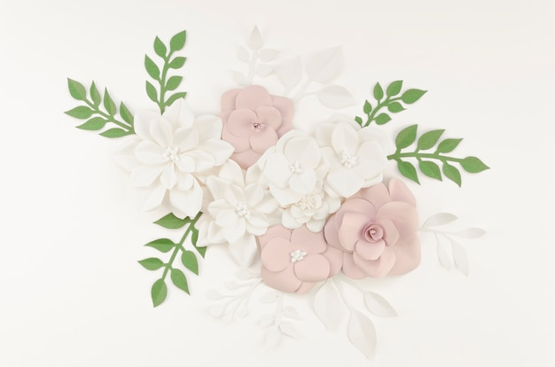 Décoration avec fleurs et fond blanc