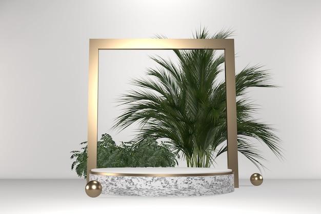 Décoration géométrique et plantes tropicales podium blanc sur fond blanc rendu .3d