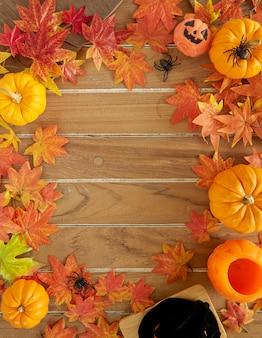 Décoration d'halloween sur une table en bois