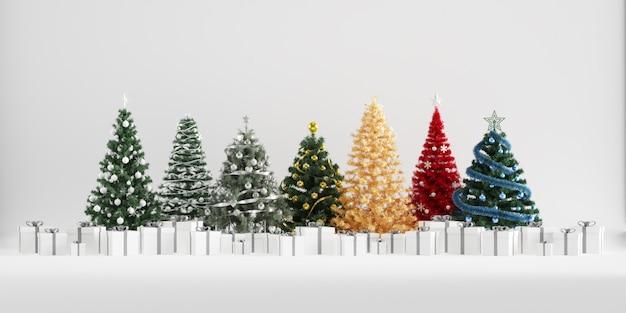 Décoration d'hiver arbres de noël avec des boîtes-cadeaux sur fond blanc