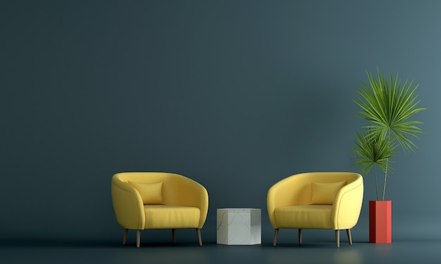 La décoration intérieure et la maquette de meubles de salon et de fond de mur