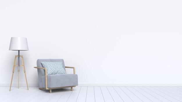 La décoration intérieure se compose d'un fauteuil et d'une lampe sur fond blanc