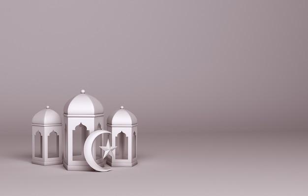 Décoration islamique avec espace de copie de croissant de lanterne arabe