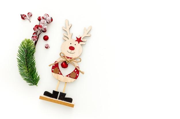 Décoration jouet cerf de noël en bois