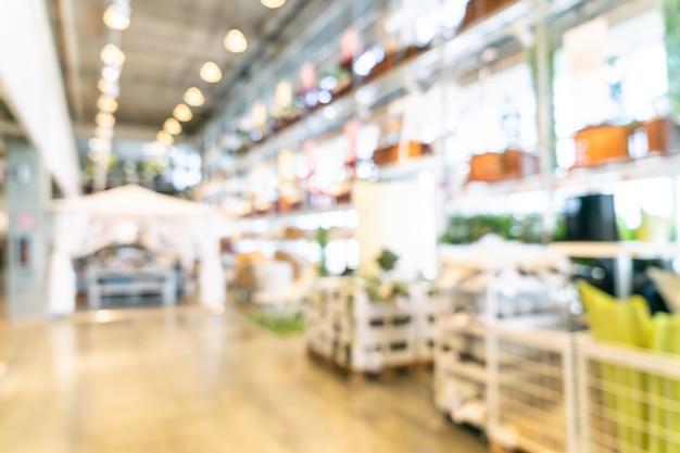 Décoration de meubles flou abstrait et intérieur de magasin d'entrepôt