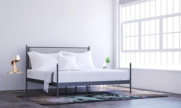 Décoration minimale de l'intérieur et des meubles de la chambre et fond de mur blanc vide
