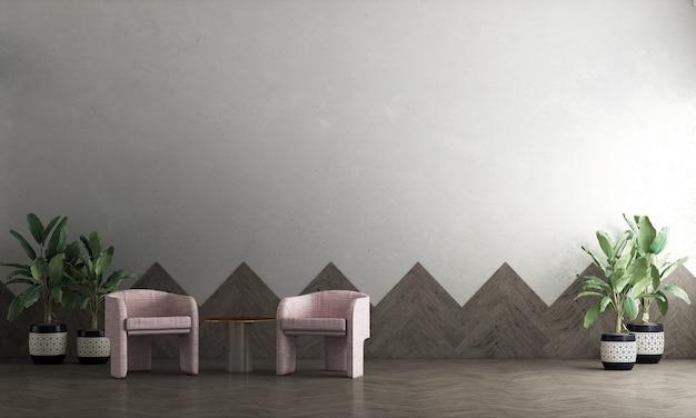 Décoration moderne maquette design d'intérieur de salon et de fond de mur en bois et en béton, rendu 3d