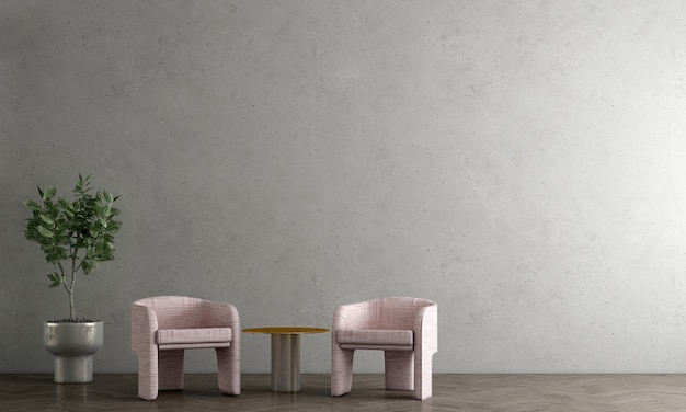 Décoration moderne maquette design d'intérieur de salon loft et fond de mur en béton rendu 3d