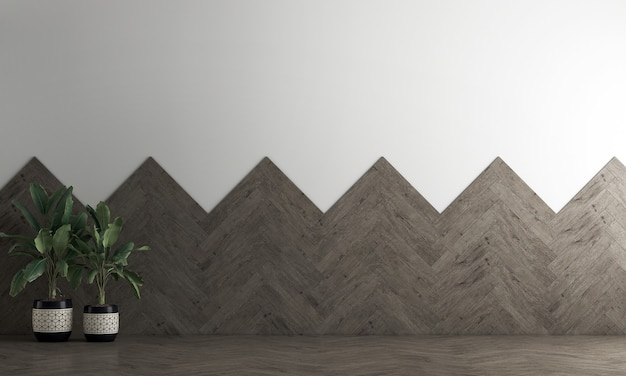 Décoration moderne maquette design d'intérieur de salon vide et fond de mur en bois, rendu 3d