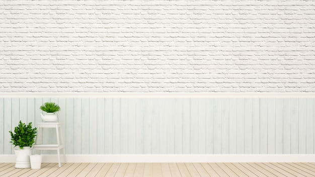 Décoration murale bleu clair avec mur de briques