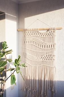 Décoration murale en macramé 100 coton fait à la main tricot moderne respectueux de l'environnement