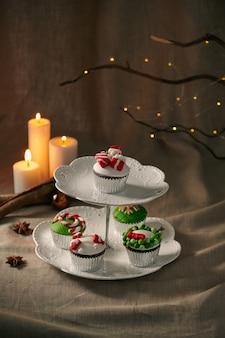 Décoration de noël sur cupcakes