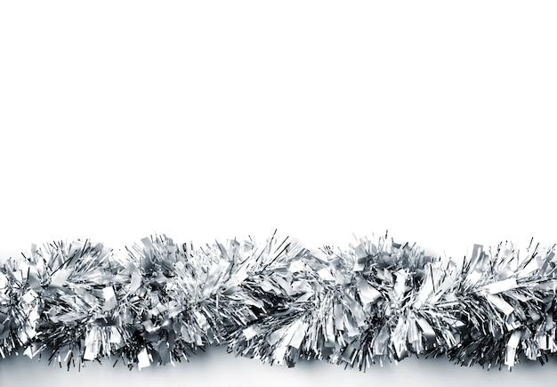Décoration de noël. guirlande en argent. élément décoratif de noël, nouvel an