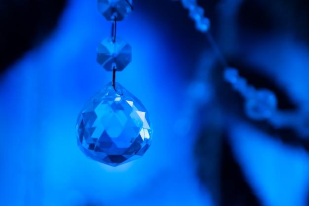 Décoration de noël en perles de cristal bleu clair et pendentif