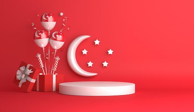 Décoration de podium d'affichage de la fête de l'indépendance de singapour avec des étoiles en croissant de ballon