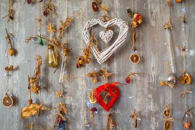 Décoration de saint valentin avec décor de deux coeurs