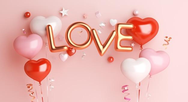 Décoration de saint valentin heureuse avec ballon en forme de coeur et texte d'amour en or