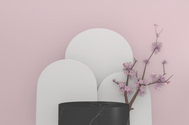 Décoration sakura et podium en granit noir sur fond rose