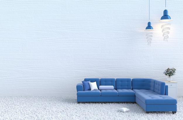 Décoration de salon de noël et du nouvel an avec un canapé bleu, un mur en bois, un oreiller, un tapis, une rose. 3
