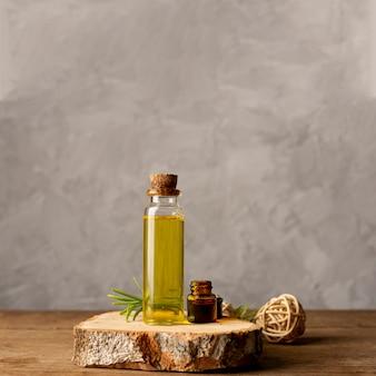 Décoration de spa avec une bouteille d'huile