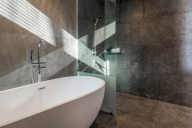 Décoration de style loft dans la salle de bain de luxe avec baignoire, toilettes à la maison