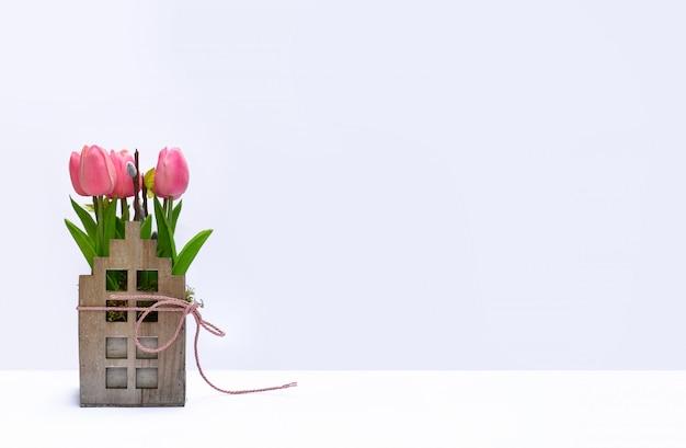 Décoration tulipe en bois