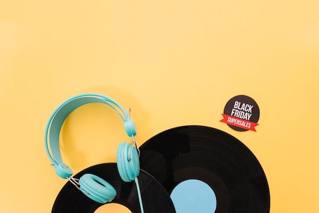 Décoration vinyle vintage pour vendredi noir