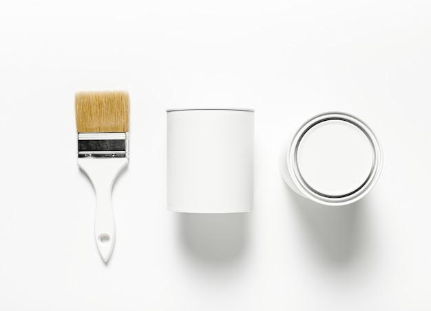 Décoration vue de dessus avec pinceau et fond blanc