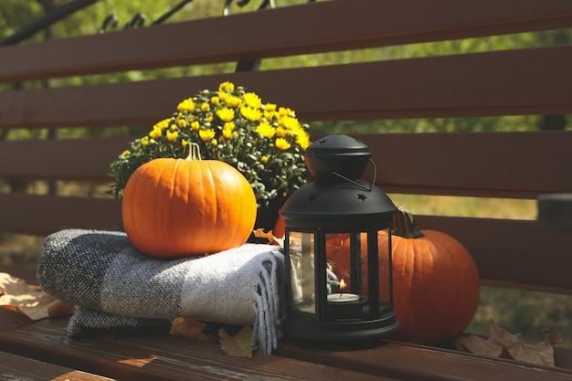 Décorations d'automne confortables sur un banc