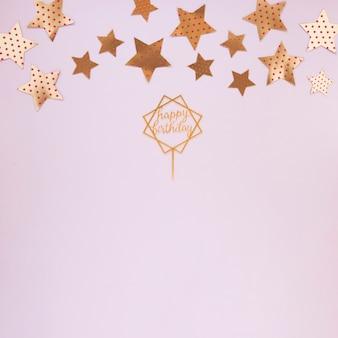 Décorations dorées pour fête d'anniversaire avec espace de copie