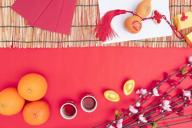 Décorations du festival du nouvel an chinois en bonne santé et richesse orange