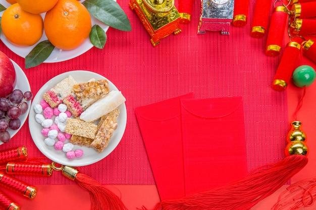 Décorations du festival du nouvel an chinois avec de la nourriture