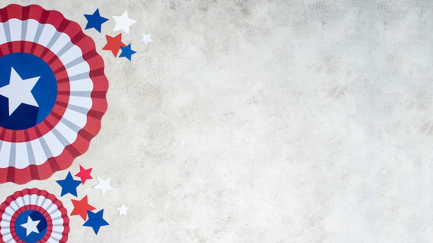 Décorations du jour de l'indépendance vue de dessus avec copie-espace