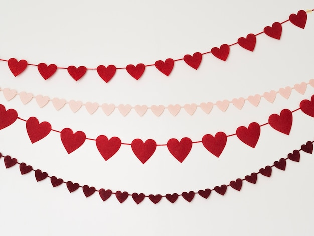 Décorations en forme de coeur vue de dessus