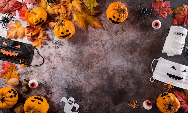 Décorations d'halloween à base de chauves-souris en papier citrouille, masque médical et araignée noire