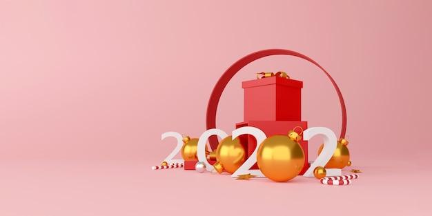 Décorations de noël et bonne année avec une boîte cadeau rouge, une boule en argent doré et une étoile dorée sur fond rouge. illustration 3d