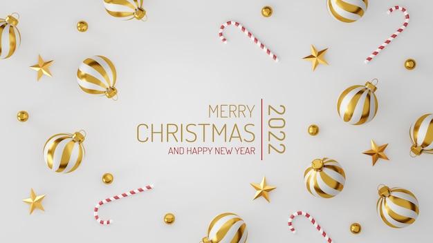 Décorations de noël et bonne année avec une boule d'argent doré et une étoile dorée sur fond blanc. illustration 3d